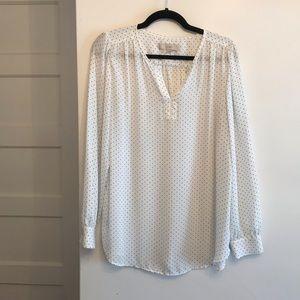 LOFT top - white with black polka dots